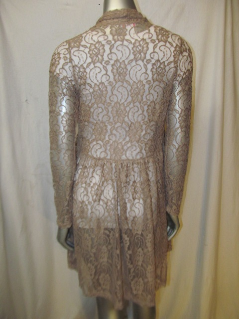 9059L-Taupe - Taupe Sheer Lace Cardigan