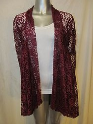 9059L-Burgundy - Burgundy Sheer Lace Cardigan