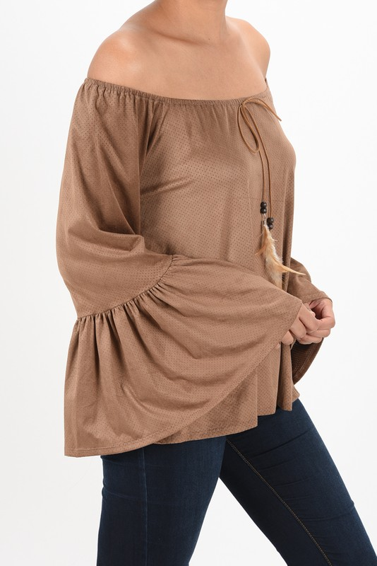 20510 - Mocha Blouse With Bella Sleeves