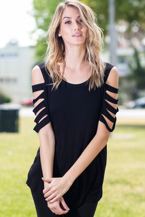 TB1487Black  - Black Laser Cut Out Top