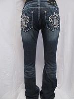 JP5360B3 Miss Me Boot Cut Denim Jean with Fleur de Lis