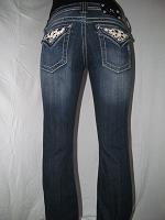JW5188B4 Miss Me Boot Cut Denim Jean with Cowskin Design
