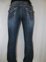 JP5443B5 Miss Me Boot Cut Denim Jean with Grey Leather Design