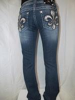 JP6163B Miss Me Boot Cut Denim Jean with Fleur De Lis and Snake Skin