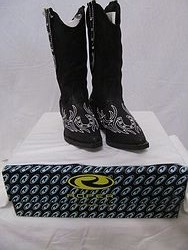 Kids Roper Boots - Black Bling Horseshoe