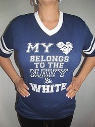 Pink Armadillo - My Heart Belongs To Navy & White Shirt