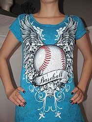 Crystal Saint - Turquoise Baseball Bling Shirt