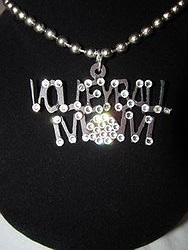 Custom Bling Necklaces - Volleyball Bling Metal Necklace