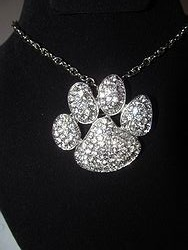 Clear Bling Paw Necklace