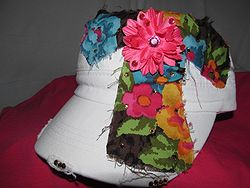 Custom Bling Hat - Cross With Pink Flower