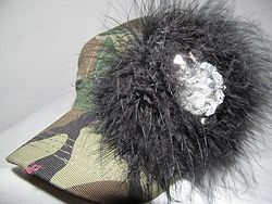 Custom Bling Hat - Camo With Feathers
