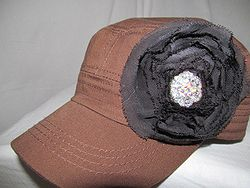 Custom Bling Hat - Brown Hat  With Black &  Bling