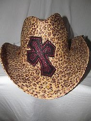 Custom Bling Cowboy Hat - Cheetah Print With Pink Bling Cross