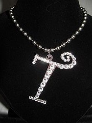 Initial T Custom Bling Necklaces - Custom Heart Necklace