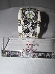 Jimmy Crystal WJ509 - White Cheetah Stainless Steel Leather Band Watch