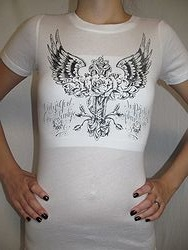 Vocal #V4654S - White Faith Bling T-Shirt