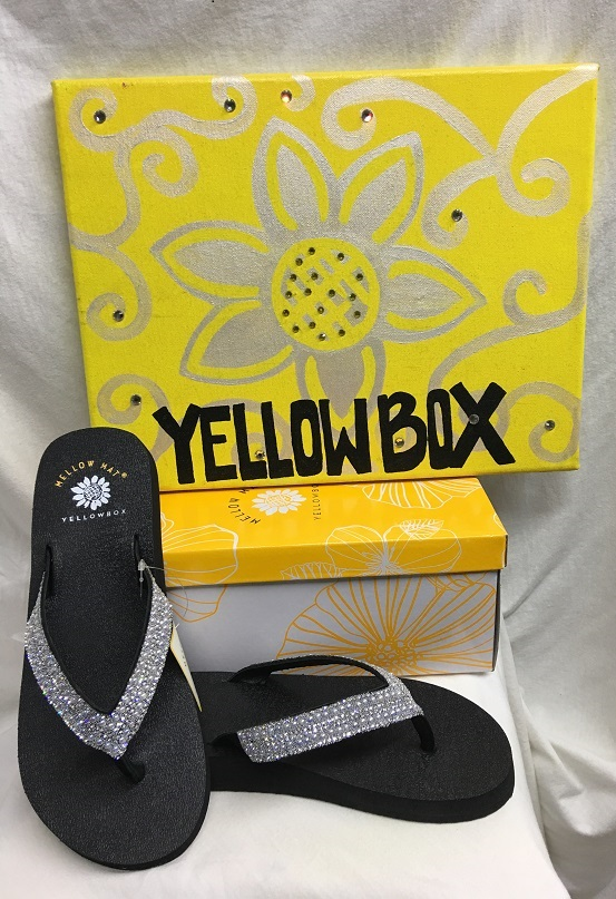 Yellow Box Frost  - Black Flip Flops