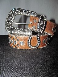 Belt # 13 - Brown Cowhide Bling Belt