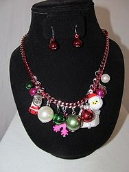 #4 Christmas Necklace W/Earrings
