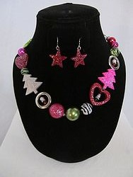#8 Christmas Necklace W/Earrings