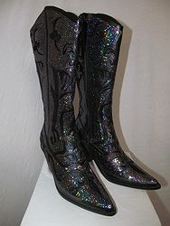 HelensHeart - Blue/Black Full Bling Boots