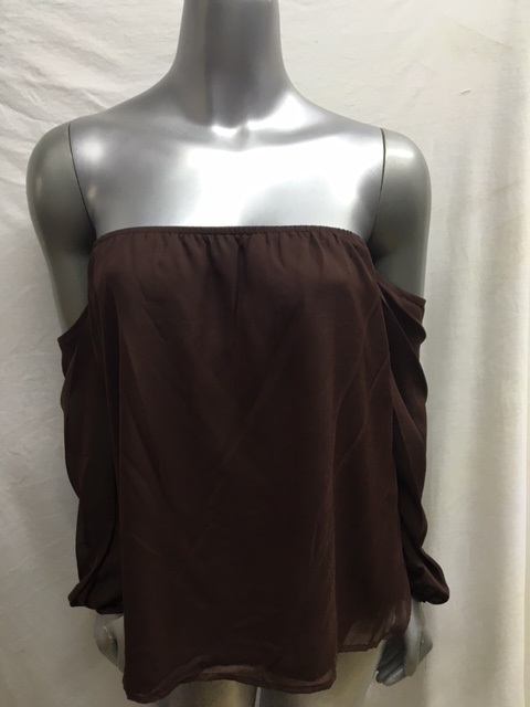 KT3216N - Brown Off The Shoulder Top - Fully Lined