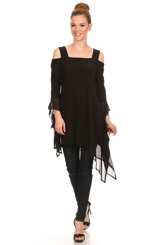 T-981A - 3/4 Open Ruffle Sleeve Tunic Top